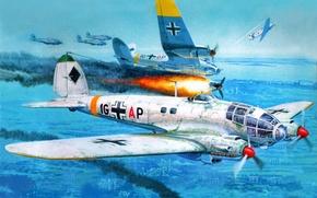 Picture the sky, war, Art, German, average, Heinkel, bombardirovshik, Battle squadron 27, He.111