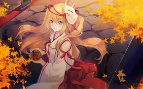 Wallpaper autumn, girl, art, mask, shinia, kimono, anime