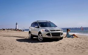 Picture Ford, Sand, Sea, Beach, Girl, Lighthouse, Machine, Summer, Ford, Car, Sun, Summer, Sail, Sea, 2014, ...