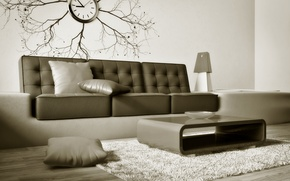 Wallpaper sofa, watch, interior, brown
