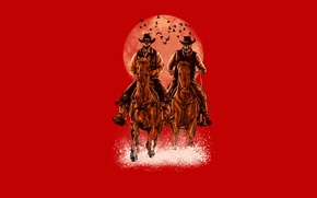 Picture birds, the moon, horse, riders, cowboys, skeletons