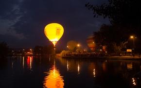 Picture night, lake, balloons, holiday, ballooning, Pyatigorsk