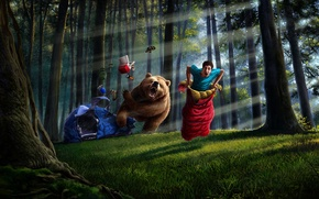 Picture forest, trees, things, bear, art, tent, guy, sleeping bag
