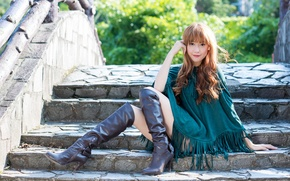 Picture look, girl, style, hair, boots, steps, sitting, Cape