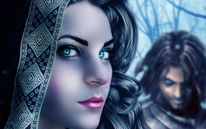 Picture eyes, look, girl, face, eyelashes, background, hair, makeup, art, lips, male, curls