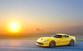 Picture Sunset, The sun, The sky, Yellow, Asphalt, Dodge, Viper, GTS, Viper, SRT