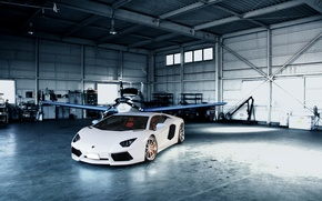 Picture white, reflection, the plane, hangar, white, lamborghini, aventador, lp700-4, Lamborghini, aventador