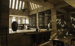Picture light, table, room, interior, chandelier, vase, game of thrones, game of thones, Meereen