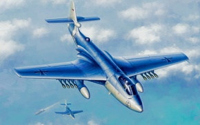 Picture art, airplane, painting, aviation, Hawker Seahawk