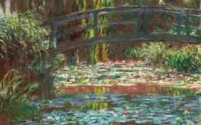 Picture landscape, pond, picture, garden, Claude Monet, Japanese Bridge