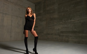 Picture room, black, stockings, dress