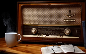 Wallpaper wood, cup, book, glasses, table, Old radio
