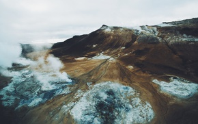 Picture mountains, smoke, couples, Iceland, the view from the top