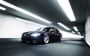 Picture Audi, Audi, speed, black, the tunnel, black, front
