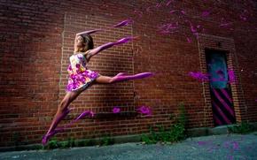 Picture girl, wall, street, paint, brick, dress, running, computer design