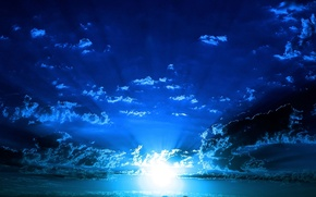 Picture the sky, the sun, blue