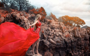 Picture girl, pose, the wind, dress, blonde, is