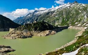 Picture greens, summer, light, mountains, Switzerland, Bern, Guttannen