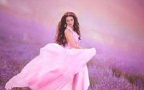 Picture model, makeup, dress, meadow, lavender