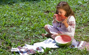Picture mood, watermelon, girl