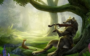Wallpaper fantasy, wolf, friends, violinist, violin, forest