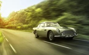 Picture road, Aston Martin, speed, blur