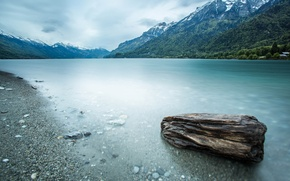 Picture forest, mountains, lake, stone