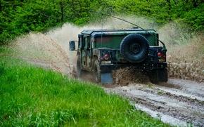 Wallpaper dirt, SUV, Hummer, forest, squirt