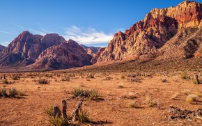Wallpaper USA, sunny, sky, mountains, desert, dry, rocks, Red Rock Canyon, Nevada