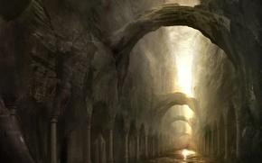 Picture light, bridge, corridor, pass, columns, Twilight