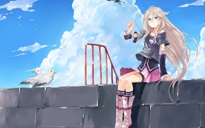 Wallpaper girl, birds, Raven, wall, vocaloid, clouds, seagulls