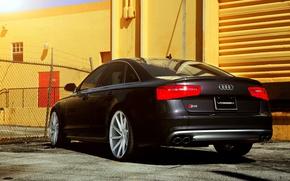 Picture Audi, black, rear, vossen wheels