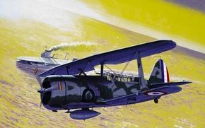 Picture war, art, airplane, aviation, Curtiss SBC Helldiver