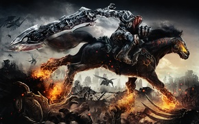Wallpaper horse, rider, Darksiders