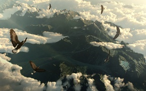 Picture clouds, mountains, birds, the eagles, mountains, clouds, birds, eagles