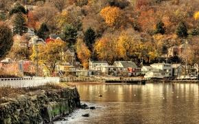 Wallpaper the village, water, autumn