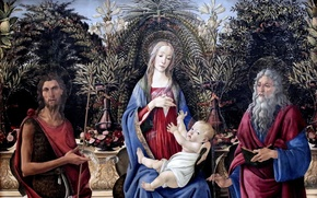 Picture Sandro Botticelli, the great Italian painter, Sandro Botticelli, tempera, Madonna with the child enthroned, The …