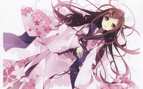 Picture Girl, petals, white background, lies, kimono, long hair