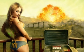 Picture girl, the explosion, Fallout 3, tenpenny babe