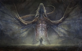 Picture fiction, dragon, people, wings, power, art
