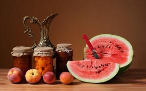 Picture watermelon, fruit, still life, peaches, jam