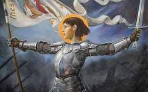 Picture girl, sword, armor, banner, Joan of arc