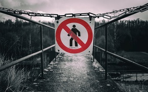 Picture bridge, warning, danger