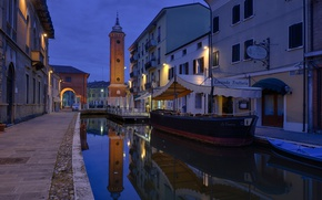 Picture night, lights, tower, home, Italy, channel, Emilia-Romagna, Comacchio