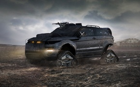 Picture armor, Land Rover, Range Rover, postapokalipsis, caterpillar, machine gun, damage, Evoque