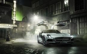 Picture Smoke, House, Street, Mercedes, Mercedes, Benz, AMG, SLS