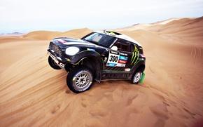 Picture Sand, Auto, Mini, Sport, Machine, Day, Lights, Mini Cooper, Rally, Dakar, Mini, Dune