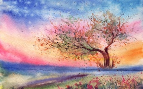 Wallpaper grass, flowers, tree, the wind, the evening, watercolor, painted landscape