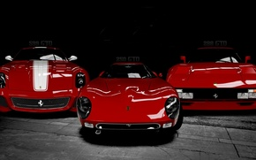 Picture Ferrari, cars, Italy, models, Black and white, Triple