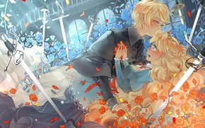 Picture girl, flowers, weapons, roses, sword, petals, tears, art, guy, vocaloid, kagamine rin, kagamine len, semcool, …